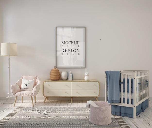 Sala de berçário com moldura de pôster de design de maquete