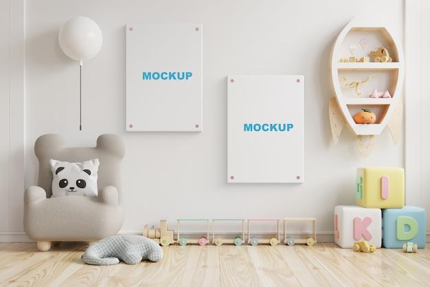 Sala de berçário de maquete interna, quarto de crianças, renderização 3d de maquete de moldura de parede