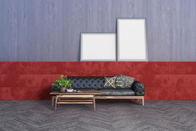 Sala de estar com colchão vermelho como destaque