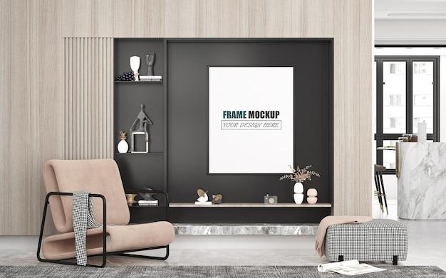 Sala de estar com maquete de moldura de linhas modernas