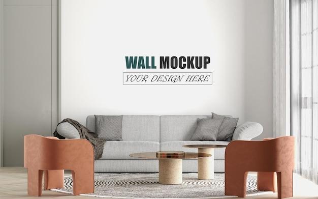 Sala de estar com maquete de parede com duas pequenas cadeiras rosa