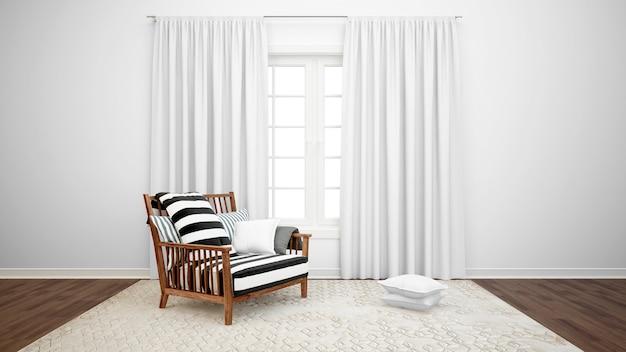 Sala de estar com poltrona e janela grande com cortinas brancas