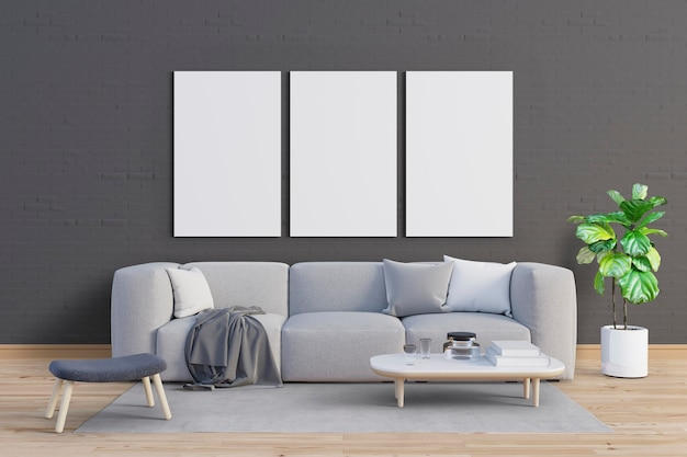 Sala de estar com tons suaves e conjunto de quadros de maquete
