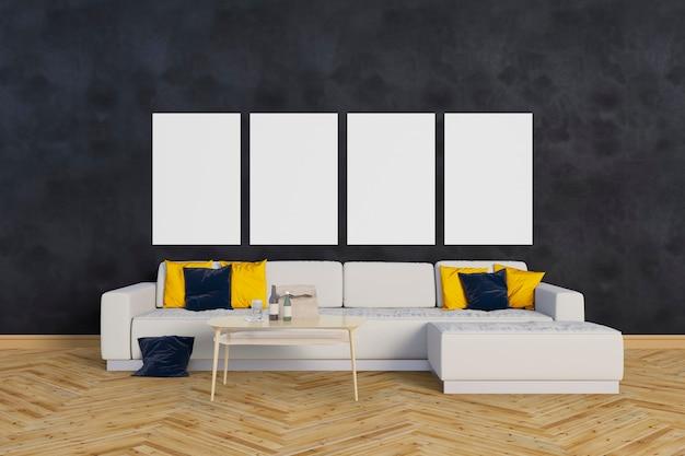 Sala de estar com um grande sofá e molduras