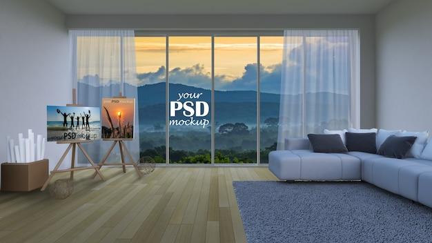 Sala de estar de design de interiores com maquete de quadro e vista maquete