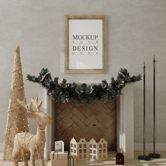 Sala de estar de natal com moldura de pôster de maquete e árvore de natal