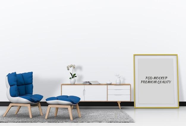 Sala de estar interior com poster em branco aparador e maquete.