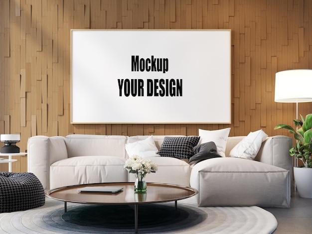 Sala de estar interior da casa modelo de piso fundo quadro maquete projeto cópia espaço 3d render