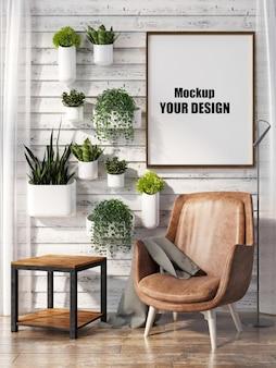Sala de estar interior da casa modelo de piso quadro de fundo mock up projeto cópia espaço 3d render