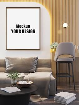 Sala de estar interior da casa piso modelo fundo mock up design cópia espaço 3d render