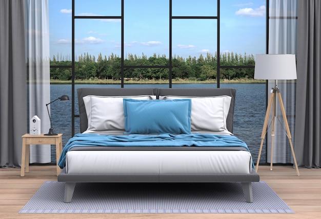 Sala de estar interior e paisagem do rio