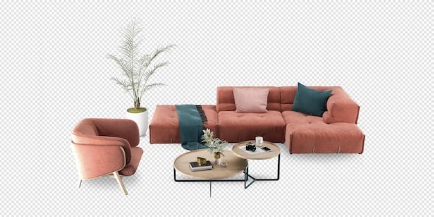 Sala de estar interna com maquete de renderização em 3d