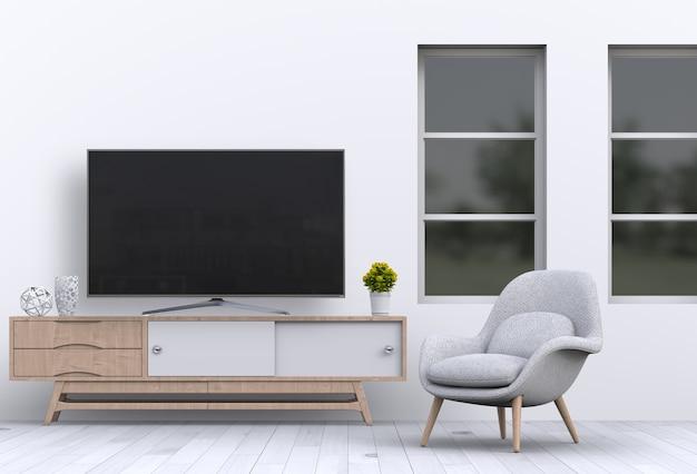 Sala de estar interna com smart tv, armário, sofá e decorações