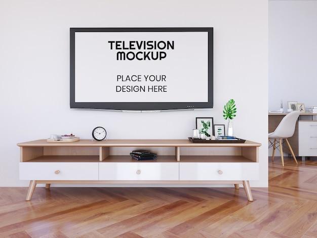 Sala de estar interna e maquete de televisão