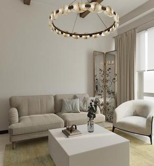 Sala de estar moderna com maquete de parede