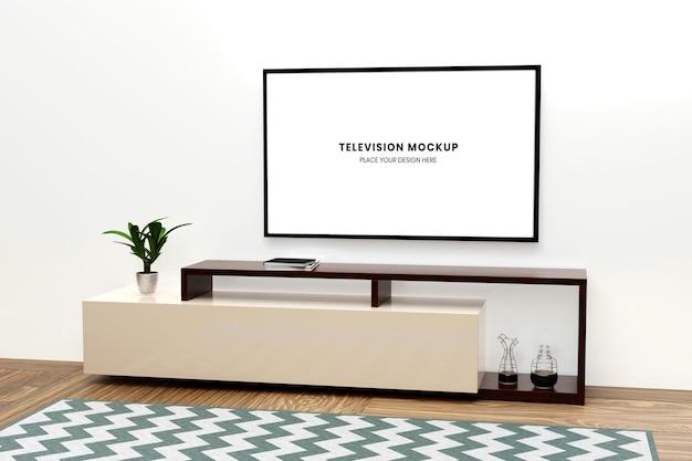 Sala de estar moderna com maquete de tv