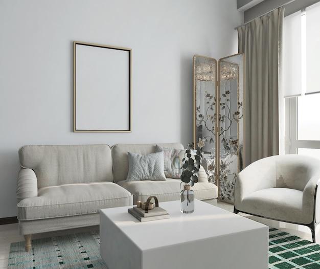 Sala de estar moderna com pôster de maquete