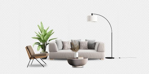Sala de estar moderna com renderização 3d