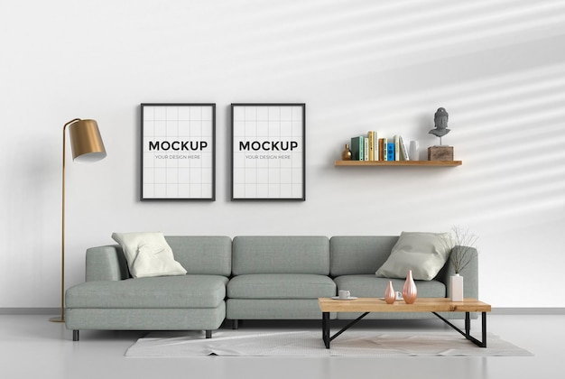 Sala de estar moderna com sofá e maquete