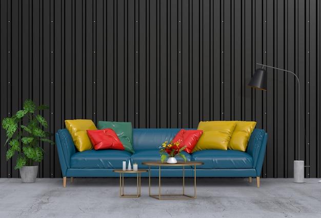 Sala de estar moderna interior com parede de chapa metálica