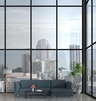 Sala de estar moderna interior com sofá