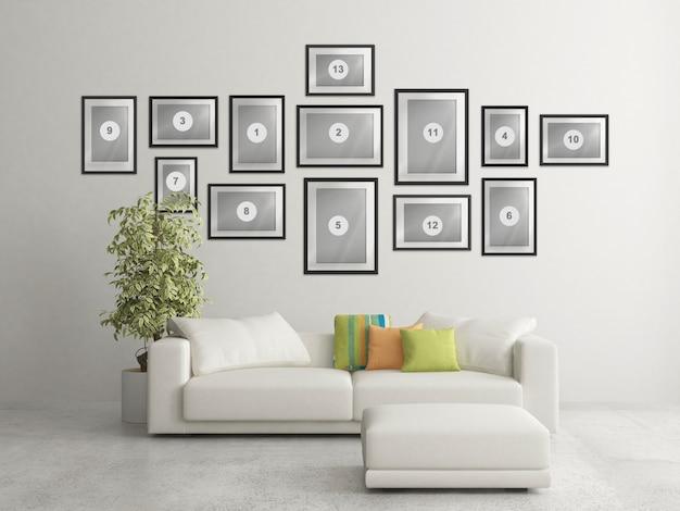 Sala de estar nórdica em casa com composição de molduras de foto de maquete