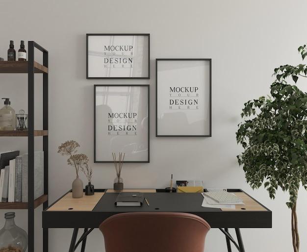 Sala de estudo moderna com mesa e pôster maquete renderização em 3d Psd Premium