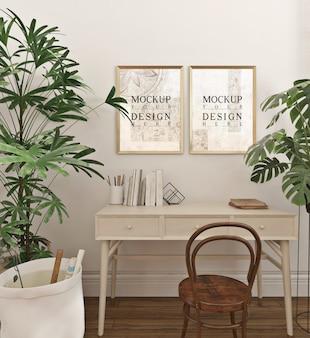 Sala de estudo moderna e simples com molduras de maquete