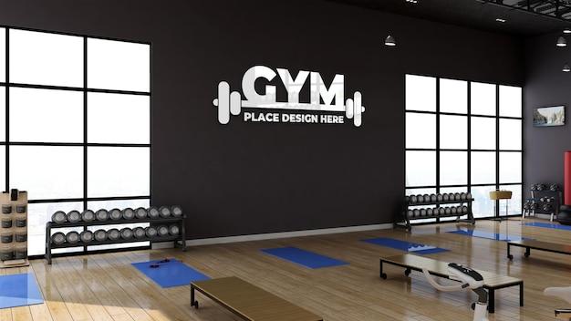 Sala de ginástica 3d render com maquete realista de logotipo de parede