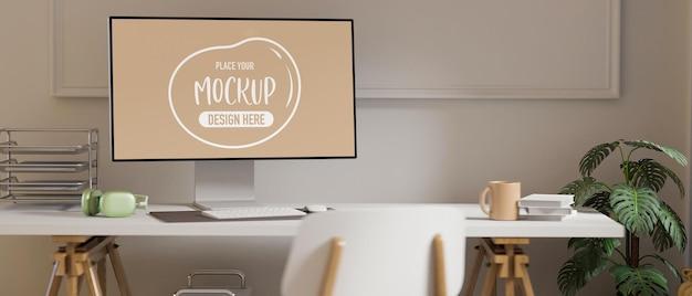 Sala de home office com renderização 3d com maquete de computador