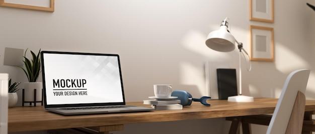 Sala de home office com renderização 3d com maquete de mesa de trabalho