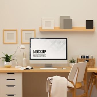 Sala de home office com renderização em 3d com suprimentos de computador