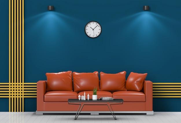 Sala de iluminação interior com sofá.