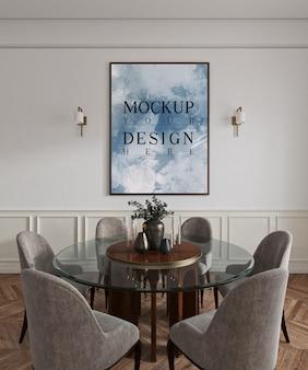 Sala de jantar clássica com poster de maquete