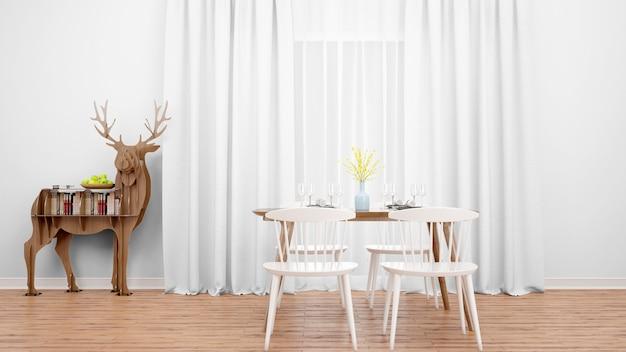 Sala de jantar com mesa e mobiliário minimalista moderno