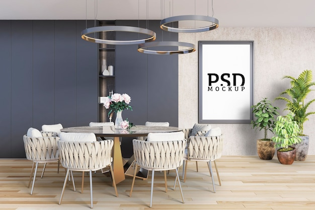 Sala de jantar com mesa redonda e moldura