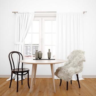 Sala de jantar minimalista com mesa de frente para a janela