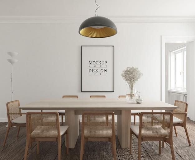 Sala de jantar moderna e contemporânea com maquete de pôster
