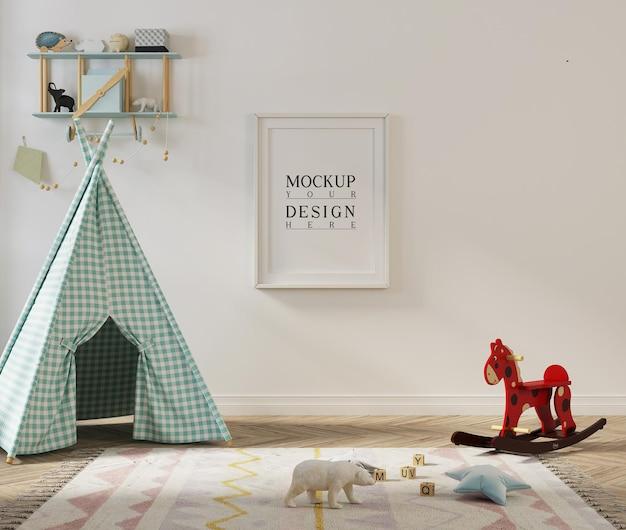 Sala de jogos de crianças lindas com pôster de maquete