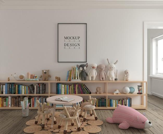 Sala de jogos infantis com pôster de maquete