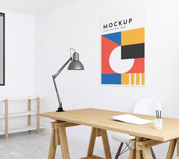 Sala do artista interna com maquete de pôster