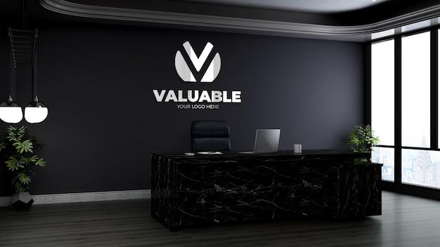 Sala do gerente de escritório para maquete de logomarca da empresa