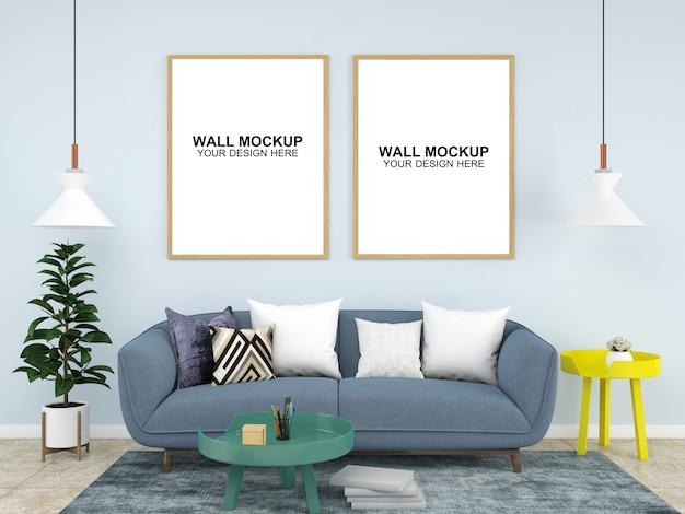 Sala interior casa maquete piso móveis fundo