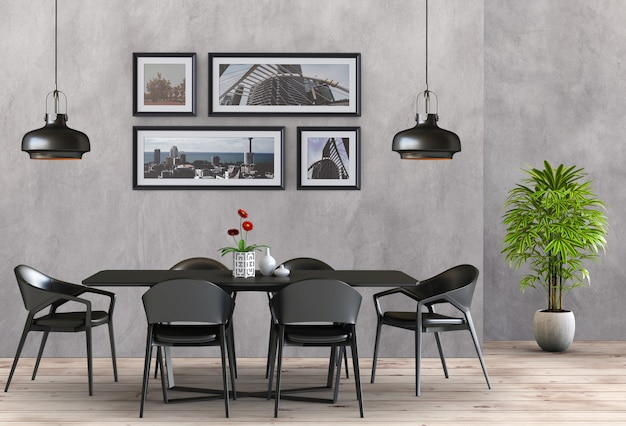 Sala moderna interior da sala de jantar mínima do estilo. 3d render