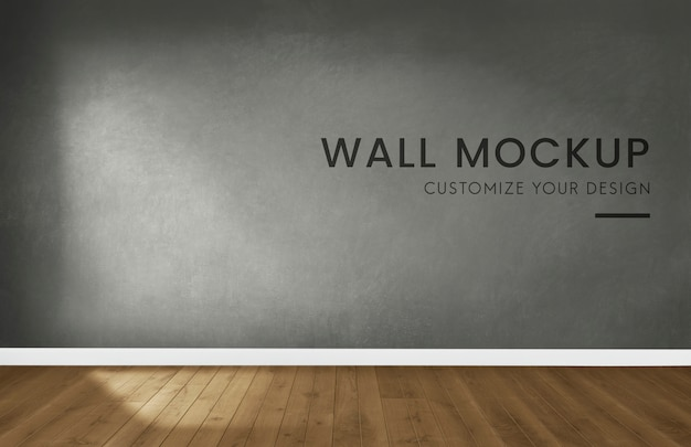 Sala vazia com um mockup de parede cinza escuro
