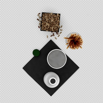 Salgado varas com vidro e garrafa de renderização 3d