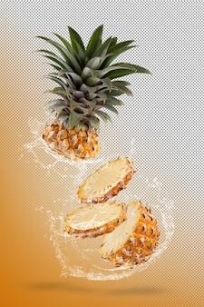 Salpicos de água na fruta de abacaxi split isolada sobre fundo amarelo.