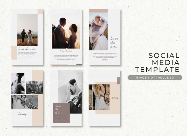 Salvar a coleção de modelos de post de casamento de data psd