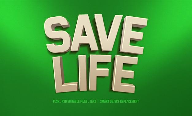 Salvar a vida maquete de efeito de estilo de texto 3d
