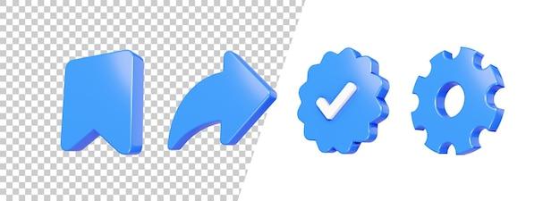 Salvar brilhante 3d, compartilhar, seta, verificar, configuração de design de ícone
